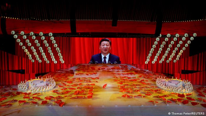 President Xi Jinping on a giant screen at an event to mark the 100th anniversary of the founding of the Communist Party of China