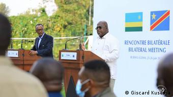 Paul Kagame et Félix Tshisekedi, à Goma, le 26 juin 2021