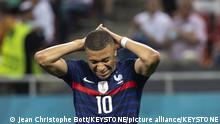 France's forward Kylian Mbappe reacts during the Euro 2020 soccer tournament round of 16 match between France and Switzerland at the National Arena stadium, in Bucharest, Romania, Monday, June 28, 2021. (KEYSTONE/Jean-Christophe Bott)