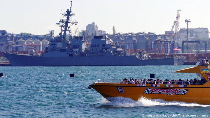 The USS Ross guided missile destroyer of the US Navy arrives at the port of Odessa