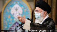 TEHRAN, IRAN - JUNE 28: ----EDITORIAL USE ONLY – MANDATORY CREDIT - IRANIAN LEADER PRESS OFFICE / HANDOUT - NO MARKETING NO ADVERTISING CAMPAIGNS - DISTRIBUTED AS A SERVICE TO CLIENTS----) Iran's Supreme Leader Ayatollah Ali Khamenei speaks during a meeting Tehran, Iran on June 28, 2021. Iranian Leader Press Office/Handout / Anadolu Agency