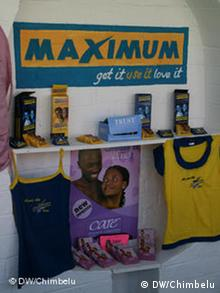 Image of condoms and t-shirts promoting safer sex.