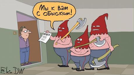 Karikatur von Sergey Elkin   Russland Druck auf Medien