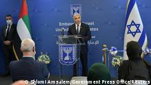 Israeli Foreign Minister Yair Lapid speaks during an inauguration ceremony of Israel's embassy in Abu Dhabi, United Arab Emirates June 29, 2021. Shlomi Amsalem/Government Press Office (GPO)/Handout via REUTERS. THIS IMAGE HAS BEEN SUPPLIED BY A THIRD PARTY.MANDATORY CREDIT.