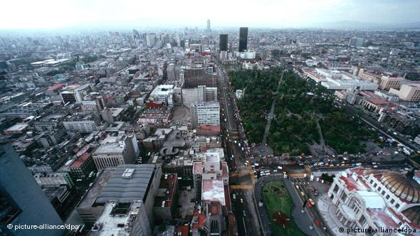 View of the Zócalo and other parts of Mexico City.