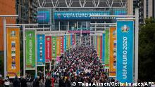 England supporters fill Olympic Way as they arrive at Wembley Stadium ahead of the UEFA Euro 2020 European Football Championship football match between England and Germany in London on June 29, 2021. (Photo by Tolga Akmen / AFP) (Photo by TOLGA AKMEN/AFP via Getty Images)