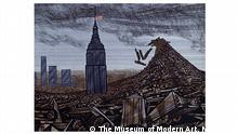 Filmstill von Automania 2000. Die Zeichnung zeigt Wolkenkratzer, die in einem Schrotthaufen von Autos versinken.