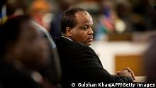 King Mswati III of the Kingdom of Swaziland gestures as he sits at the closing ceremony of the 37th Southern African Development Community (SADC) Summit of Heads of State and Government at The OR Tambo Building in Pretoria on August 20, 2017. / AFP PHOTO / GULSHAN KHAN (Photo credit should read GULSHAN KHAN/AFP via Getty Images)