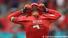 Soccer Football - Euro 2020 - Round of 16 - England v Germany - Wembley Stadium, London, Britain - June 29, 2021 Germany's Manuel Neuer reacts after England's Raheem Sterling scored their first goal Pool via REUTERS/Carl Recine