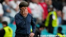 Soccer Football - Euro 2020 - Round of 16 - England v Germany - Wembley Stadium, London, Britain - June 29, 2021 Germany coach Joachim Loew reacts after England's Harry Kane scores their second goal Pool via REUTERS/Frank Augstein