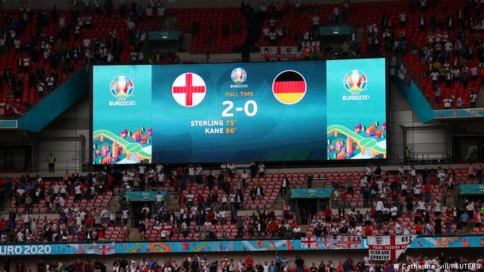 The scoreboard at Wembley after England 2-0 Germany