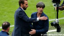 Soccer Football - Euro 2020 - Round of 16 - England v Germany - Wembley Stadium, London, Britain - June 29, 2021 England manager Gareth Southgate and Germany coach Joachim Loew after the match Pool via REUTERS/John Sibley