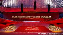 Fireworks explode during a show commemorating the 100th anniversary of the founding of the Communist Party of China at the National Stadium in Beijing, China June 28, 2021. REUTERS/Thomas Peter