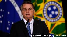 O presidente Jair Bolsonaro durante cerimônia de assinatura de acordo com os EUA para participar do Programa Lunar Nasa Artemis.