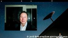 29.06.2021 *** Tesla- und SpaceX-Gründer, Elon Musk, spricht bei einer Videokonferenz am zweiten Tag des Mobile World Congress (MWC 2021). Die Mobilfunk-Messe begann ohne die meisten großen Aussteller, die sie sonst zum wichtigsten Branchentreff machen. +++ dpa-Bildfunk +++