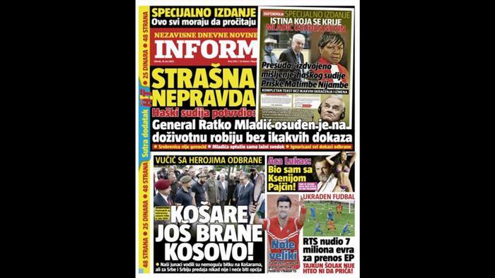 "Naslovna strana ""Informera"" 15. juna 2021."