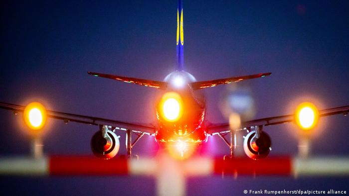 A Lufthansa plane taking off from Frankfurt Airport