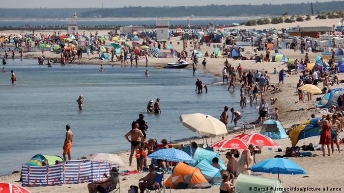 Crowded beach on the Baltic Sea, Germany