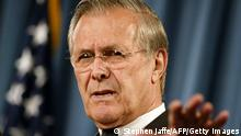US Secretary of Defense Donald Rumsfeld addresses a press conference 04 May 2004 at the Pentagon. Rumsfeld said that abuse of Iraqi prisoners by US soldiers was totally unacceptable and promised to take action against them. The actions of the soldiers in those photographs are totally unacceptable and un-American, Rumsfeld told reporters. Rumsfeld promised that as the leader of the Department of Defense, he would ensure that appropriate steps are taken, against the perpetrators of abuse. AFP PHOTO/Stephen JAFFE (Photo by STEPHEN JAFFE / AFP) (Photo by STEPHEN JAFFE/AFP via Getty Images)