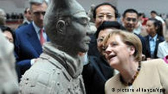 Merkel visiting the Terracotta Army to celebrate her birthday