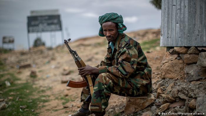 a fighter loyal to the Tigray People's Liberation Front (TPLF) mans a guard post