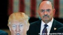 FILE PHOTO: Trump Organization chief financial officer Allen Weisselberg looks on as then-U.S. Republican presidential candidate Donald Trump speaks during a news conference at Trump Tower in Manhattan, New York, U.S., May 31, 2016. REUTERS/Carlo Allegri//File Photo