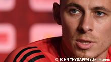 Belgium's midfielder Thorgan Hazard holds a press conference at the team's base camp at the Belgian National Football Centre in Tubize on June 29, 2021 during the UEFA EURO 2020 competition. (Photo by JOHN THYS / AFP) (Photo by JOHN THYS/AFP via Getty Images)