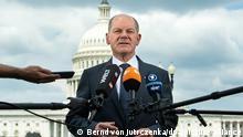 Olaf Scholz (SPD), Bundesfinanzminister, äußert sich nach einem Gespräch mit Kongressabgeordneten vor dem Kapitol. Bundesfinanzminister Scholz ist zu einer dreitägigen Reise in Washington. Es ist sein erster Besuch in den Vereinigten Staaten von Amerika (USA) seit Antritt der neuen Regierung von US-Präsident Biden. +++ dpa-Bildfunk +++