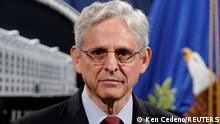 25.06.2021 U.S. Attorney General Merrick Garland looks on as he announces that the Justice Department will file a lawsuit challenging a Georgia election law that imposes new limits on voting, during a news conference at the Department of Justice in Washington, D.C., U.S., June 25, 2021. REUTERS/Ken Cedeno