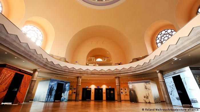 Inside Essen's Old Synagogue with exhibits
