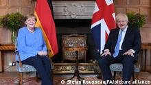 Angela Merkel visit to UK. Prime Minister Boris Johnson with the Chancellor of Germany, Angela Merkel, before their bilateral meeting at Chequers, the country house of the Prime Minister of the United Kingdom, in Buckinghamshire. Picture date: Friday July 2, 2021. See PA story POLITICS Merkel. Photo credit should read: Stefan Rousseau/PA Wire URN:60697645
