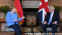 Angela Merkel visit to UK. Prime Minister Boris Johnson with the Chancellor of Germany, Angela Merkel, before their bilateral meeting at Chequers, the country house of the Prime Minister of the United Kingdom, in Buckinghamshire. Picture date: Friday July 2, 2021. See PA story POLITICS Merkel. Photo credit should read: Stefan Rousseau/PA Wire URN:60697644