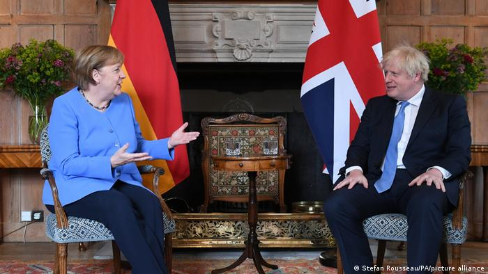 Prime Minister Boris Johnson with the Chancellor of Germany, Angela Merkel, before their bilateral meeting at Chequers,