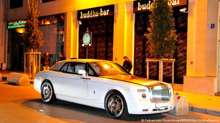A Rolls-Royce in front of a Beirut club.