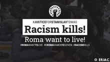 Justice for Stanislav Tomas Banner gegen Antiziganismus, Rassismus und Polizeigewalt - Der Fall Stanislav Tomas in Teplice, Tschechische Republik Credits: ERIAC
