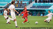 SAINT PETERSBURG, RUSSIA - JULY 02: Xherdan Shaqiri of Switzerland scores their side's first goal during the UEFA Euro 2020 Championship Quarter-final match between Switzerland and Spain at Saint Petersburg Stadium on July 02, 2021 in Saint Petersburg, Russia. (Photo by Alexander Hassenstein/Getty Images)
