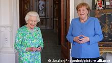 Queen Elizabeth II receives the Chancellor of Germany, Angela Merkel, during an audience at Windsor Castle in Berkshire. Picture date: Friday July 2, 2021., Credit:Avalon.red / Avalon