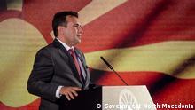 Prespa Forum Dialogue findet in Ohrid und Prespa, Nord-Mazedonien, statt (1 und 2 Juli 2021) 02.07.2021+++Zoran Zaev, der Premierminister Nord-Mazedoniens, Presse-Konferenz in Ohrid, Nord-Mazedonien, 02.07.2021 Copyright: Government North Macedonia