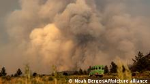 Smoke from the Lava Fire billows over Highway 97 in Weed, Calif., on Thursday, July 1, 2021. Firefighters are battling multiple fires in the region following high temperatures and lightning strikes. (AP Photo/Noah Berger)