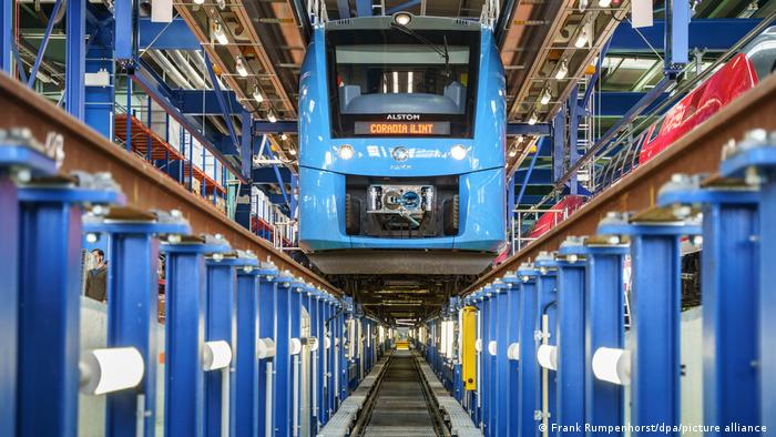 A picture of a prototype of Alstom's Coradia iLint hydrogen-powered train
