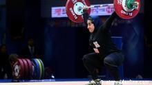Parisa JAHANFEKRIAN, iranische Gewichtheberin, Olympia-Teilnehmerin in Tokio 2021 Stichworte: Parisa JAHANFEKRIAN, iranische Gewichtheberin, Olympia-Teilnehmerin in Tokio 2021 Quelle: etemadonline.com (rechtefrei)