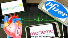 Photo by: STRF/STAR MAX/IPx 2021 6/26/21 FDA adds warning about rare heart inflammation side effects to the literature that accompanies Pfizer/BioNTech and Moderna COVID vaccine shots. STAR MAX File Photo: 6/26/21 Pfizer, Moderna and BioNTech logos photographed off of multiple Apple devices.