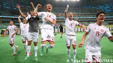 Soccer Football - Euro 2020 - Quarter Final - Czech Republic v Denmark - Baku Olympic Stadium, Baku, Azerbaijan - July 3, 2021 Denmark players celebrate after the match Pool via REUTERS/Tolga Bozoglu