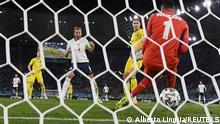 Soccer Football - Euro 2020 - Quarter Final - Ukraine v England - Stadio Olimpico, Rome, Italy - July 3, 2021 England's Harry Kane scores their third goal REUTERS/Alberto Lingria