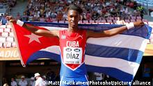 (180715) -- TAMPERE, July 15, 2018 () -- Jordan A. Diaz of Cuba celebrates after the Men's Triple Jump Final at the IAAF World U20 Championships in Tampere, Finland, on July 14, 2018. Diaz won the gold medal with 17.15 meters. (/Matti Matikainen)