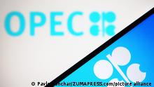 April 30, 2021, Ukraine: In this photo illustration, OPEC (Organization of the Petroleum Exporting Countries) logo is seen displayed on a smartphone screen and a pc screen. (Credit Image: © Pavlo Gonchar/SOPA Images via ZUMA Wire