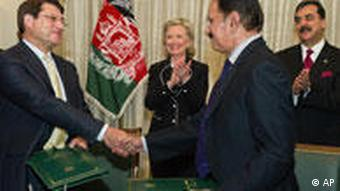 Afghan Minister of Trade Anwar-ul-Haq Ahady, left, and his Pakistani counterpart Makhdoom Amin Fahim shake hands after the signing of a trade treaty