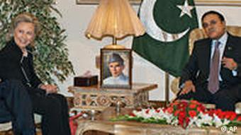 US Secretary of State Hillary Clinton meets with Pakistani President Asif Ali Zardari