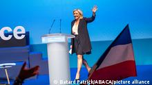 Marine Le Pen, RN president. The Rassemblement National organized its XVIIth congress in Perpignan (France), on July 3 and 4, 2021. Following the recent regional and departmental elections, and the drop in the number of elected representatives, the far-right party faces to an internal crisis. The members voted for the election of the National Council and the President of the movement. Photo by Patrick Batard / ABACAPRESS.COM