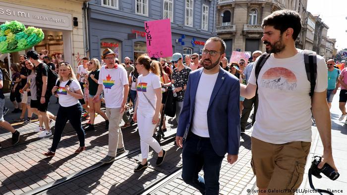 Zagreb Mayor Tomislav Tomasevic attends the annual 20th Gay Pride parade in Zagreb.